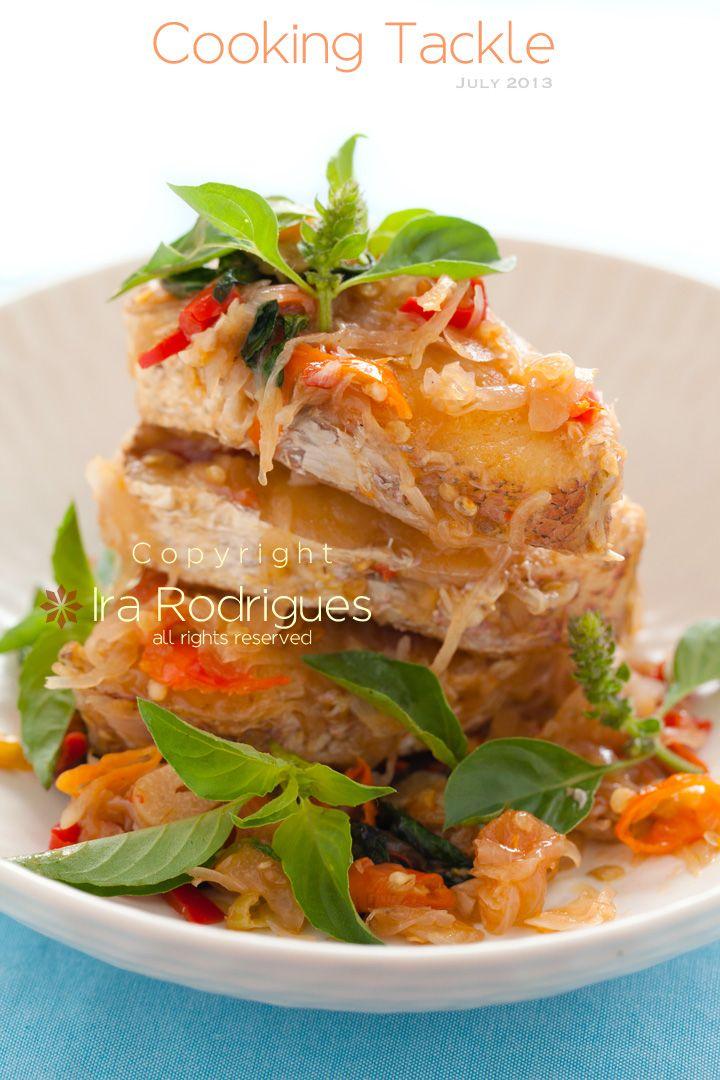 Fried fish with Indonesian lemon basil (kemangi)