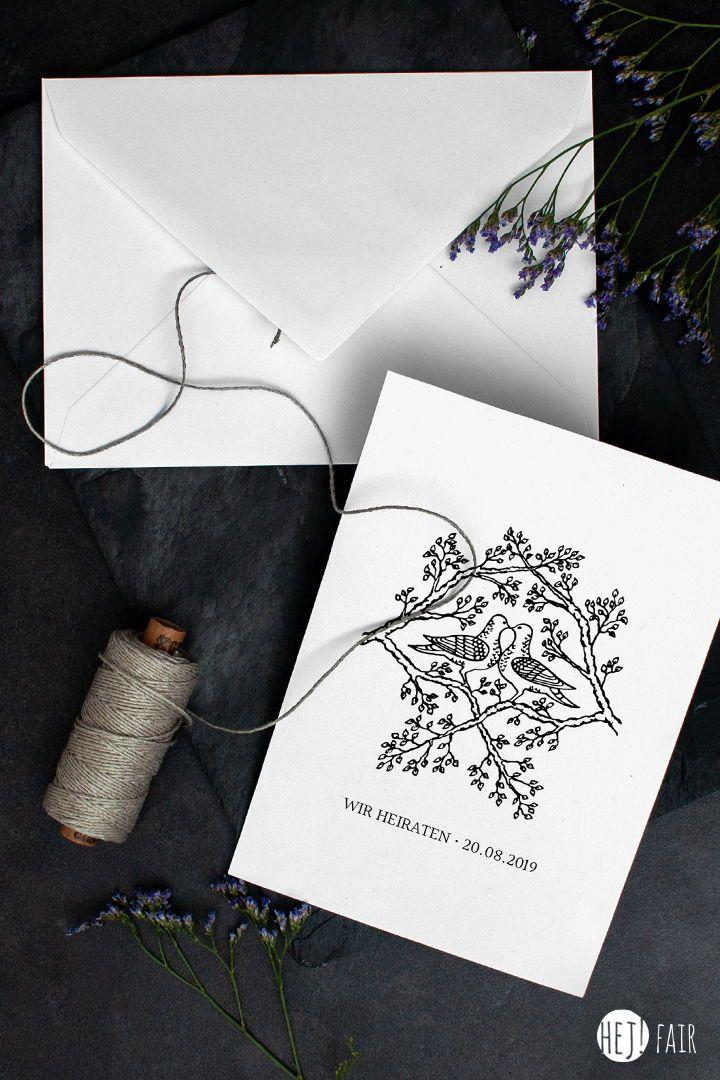 Tauben Nachhaltige Hochzeitseinladung Hej Fair Hochzeitseinladung Hochzeit Karte Hochzeit