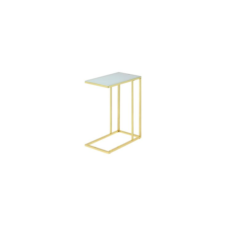 Frosted Glass End Table - Bright Gold - Fox Hill Trading