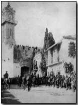 December 9, 1917-British capture Jerusalem from the Turks and her Arab allies. General Sir Edmund Allenby entering Jerusalem Barely pausing for consolidation following the Battle of Mughar Ridge on 13 November 1917, British Commander-in-Chief Sir Edmund Allenby marched eastwards towards Jerusalem via the Judea Hills.