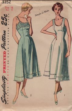 Simplicity 3352 1950s Ladies Lingerie Pattern Regular Length Simple to Make womens vintage sewing pattern by mbchills