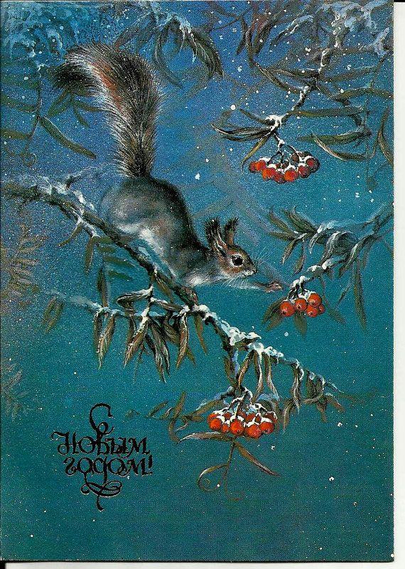 Squirrel - Rowan - Vintage Russian Postcard - Happy New Year - Christmas unused