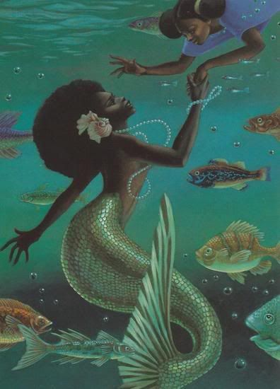 illustrated by husband and wife team Leo and Diane Dillon, from a book called HerstoriesAfrican American, Diane Dillon, Mermaid Bathroom, Illustration, Leo, Fantasy Book, Black Art, Black Mermaid, Fairies Tales