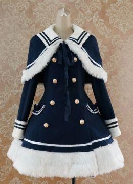 学院風 ロリータコート ショール付き ダブルボタン 蝶結び ロリータ コート