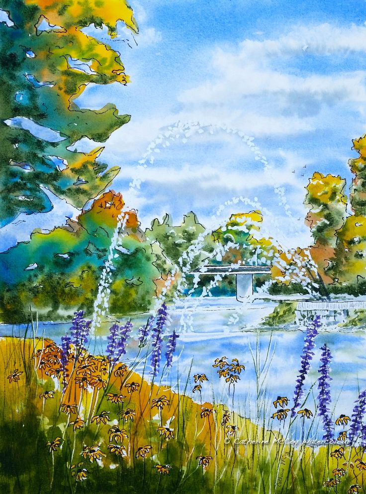"""Susans on the Thames. Watercolour 12"""" x 16"""" by Catherine McCoy"""