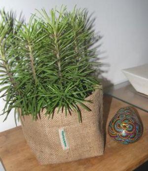 Extérieur : 100% sacs recyclés. Intérieur : 100% bâche plastique recyclé. Dimensions : Ø 14cm et hauteur 16cm environ. 27€