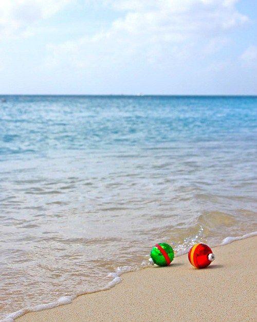 Christmas Ornaments on the Beach Photo Greeting Card Idea