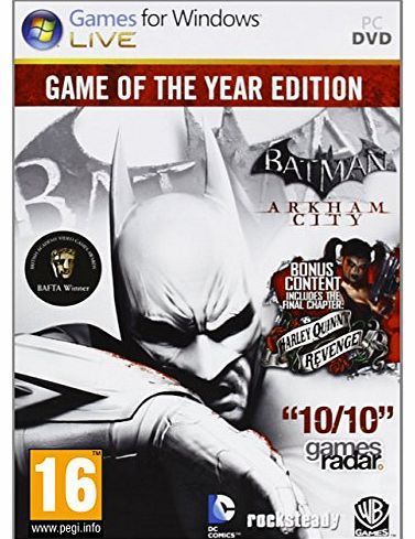 Warner Bros. Interactive Batman: Arkham City - Game of the Year (PC DVD) No description (Barcode EAN = 8904171305358). http://www.comparestoreprices.co.uk//warner-bros-interactive-batman-arkham-city--game-of-the-year-pc-dvd-.asp