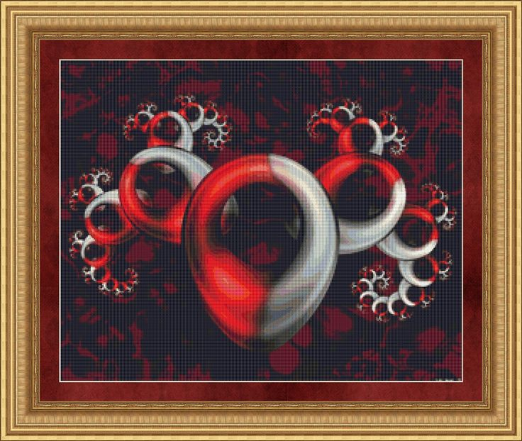 Counted Cross Stitch Pattern Red Chrome Fractal Digital Art INSTANT DOWNLOAD PDF - StitchX by StitchXCrossStitch on Etsy