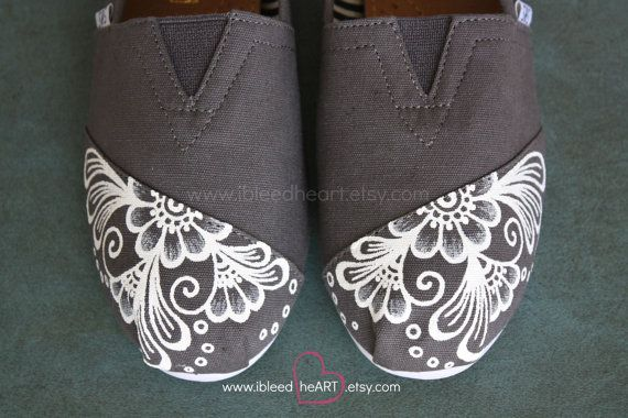 White Henna Custom Painted TOMS Shoes - Henna Flower - White Mehndi - Flower…