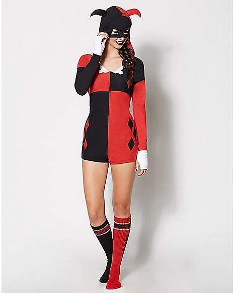 85d308f42 Harley Quinn Romper Pajamas - Spencer s