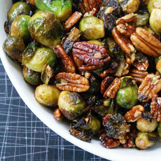 Caramelized Brussel Sprouts with Apples and Toasted Pecans.