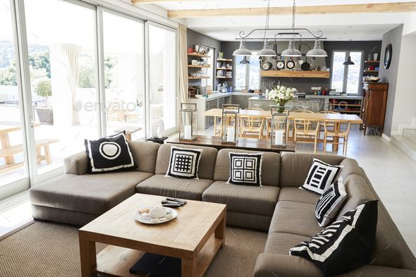 Home Interior With Open Plan Kitchen,Lounge And Di…