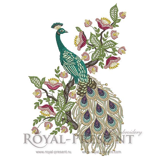 Machine Embroidery Design - Peacock #2 (4 in1)   Royal Present Embroidery   Like pt 3 tail feathers as a stand alone...