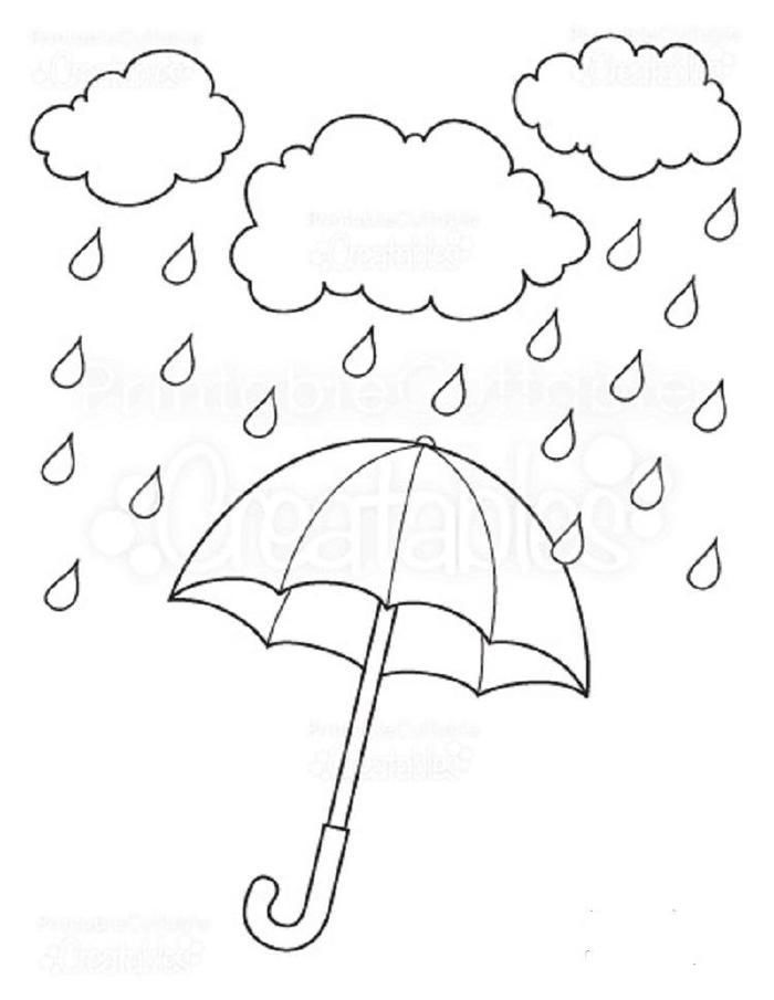 Umbrella Coloring Pages Rain Balao Para Colorir Artesanato De