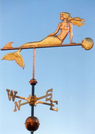 Mermaid with Clamshell Weathervane - Optional Gold Leafing