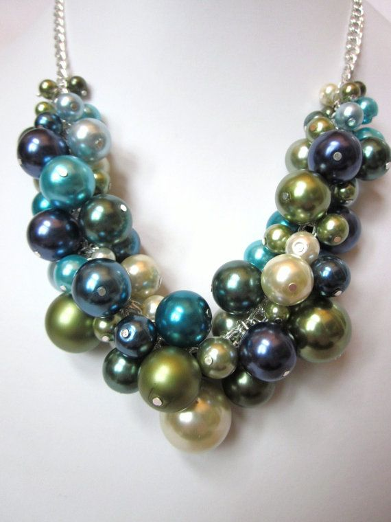 Reserved for Amanda F. - Set of 3 Pearl Cluster Necklaces in Shades of Blue and Green via Etsy