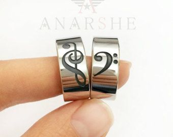 Music Note Love Heart Ring Treble Clef Ring Bass by yhtanaff