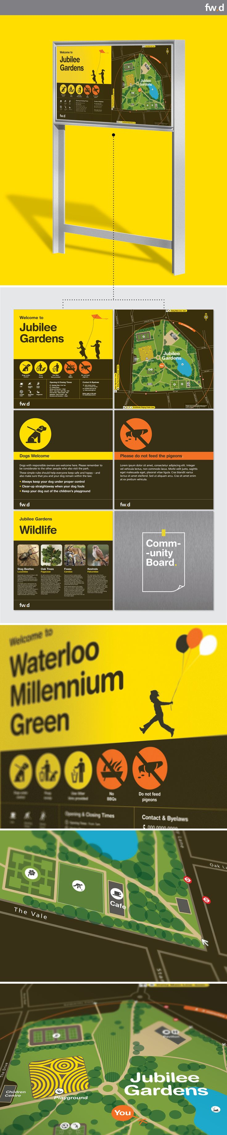 Bright & attractive graphics for park signage by fwdesign, designed as part of the modular Daisy family. www.fwdesign.com #park #signage #graphics