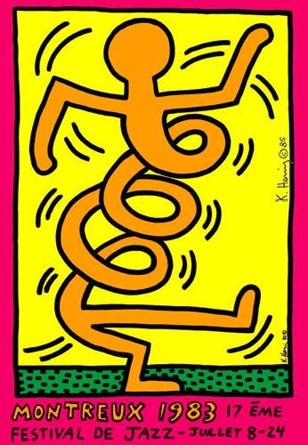 #Montreaux Jazz Festival 1983 C. 70,00 x 100,00. Tecnica: offset. Firmata sul fronte 'Keith Haring 85' con marker nero. Announcement per la Diciassettesima edizione del Montreaux Jazz Festival 1983. Catalogo Ragionato Marc Gundel, Keith Haring - Short Messages - Posters, München 2002, no. 6