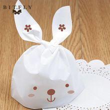 50 stks Schattige Konijn Oor Plastic Zak Snoep Doos Chocolade Biscuit Cookie Tassen Gift voor verjaardag Bruiloft Voedsel Taart verpakking(China (Mainland))