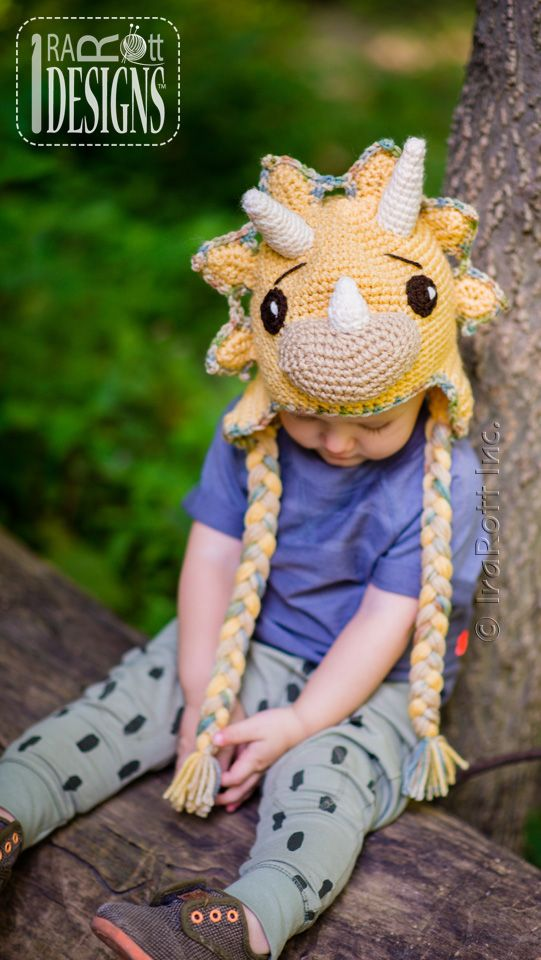 Cera the Triceratops Dino Hat PDF Crochet Pattern by IraRott