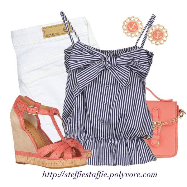 Navy Stripes & Coral                                              #abbigliamento
