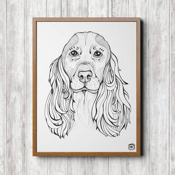Cocker Spaniel Dog A4 A5 illustration print art dog by mmuffn