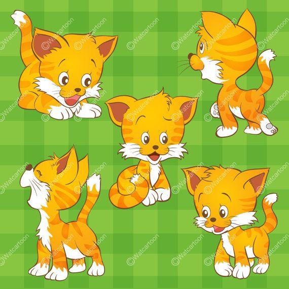 Cute Cat cartoon Bigset by Watcartoon on Etsy