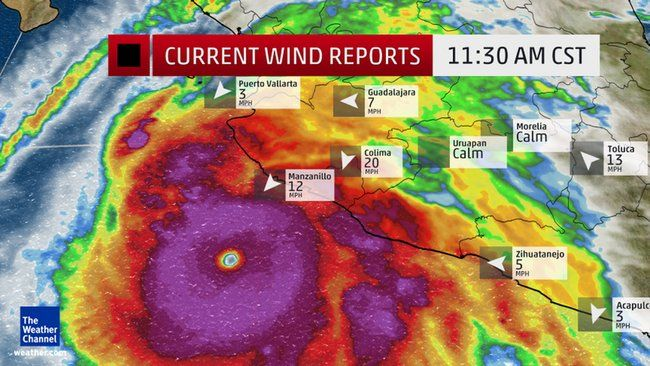 Current Wind Reports and Enhanced SatelliteCatastrophic Landfall Expected in Mexico Friday; Patricia Becomes Strongest Hurricane Ever Recorded