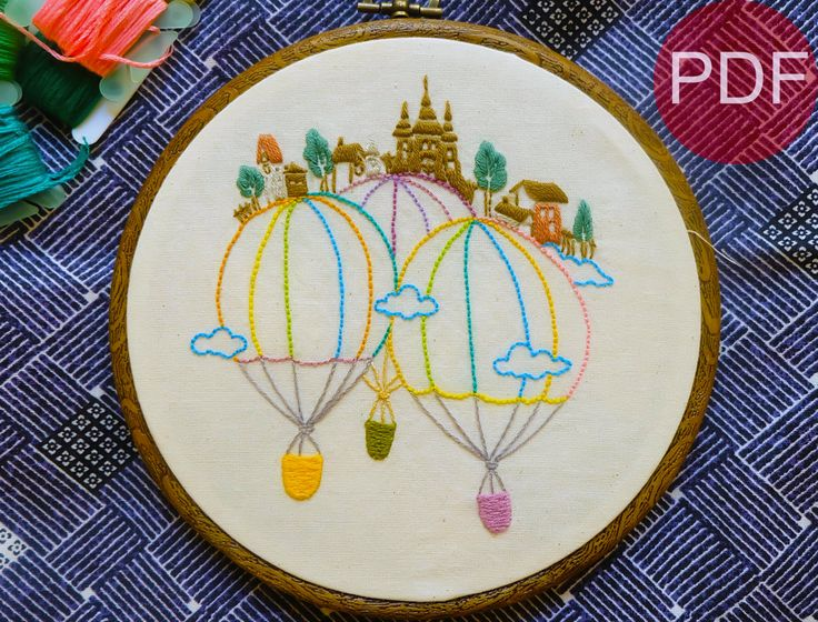 Castle and Fire Balloon-Hand Embroidery Pattern-Beginner Pattern-DIY Embroidery-PDF Pattern-Hoop Art-Needlecraft Design-Instant Download by yemie on Etsy