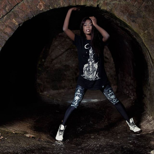 "CRMC X @wirosatan X @viewfromthecoffin ""Aske Til Aske"" Long Tee & CRMC X @julianakbar ""Satan's Waitin'"" Leggings Available at www.crmc-clothing.co.uk 