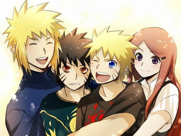 Minato, Menma, Naruto, and Kushina from Road to Ninja, Naruto Shippuden movie 6