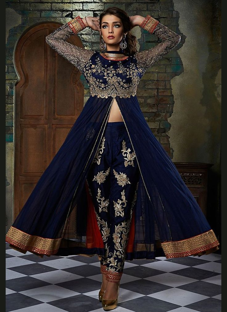 Achkan Style Blue with Lace Work Wonderful Unstitched Salwar Kameez The lovely Butta Work & Lace work a substantial attribute of this attire.
