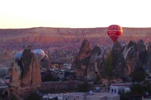 Cappadocia Turkey  Hot air balloons View from hotel rooftop