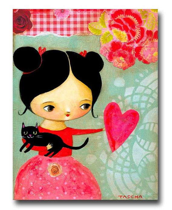 ORIGINAL mixed media BLACK CAT Valentine day love acrylic painting on wood by tascha