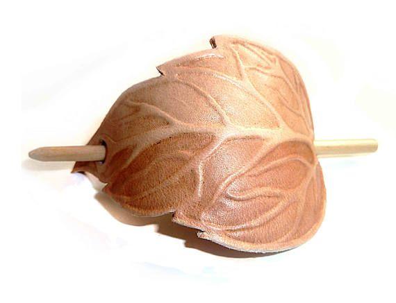 Elven Leaf  Hand Tooled Leather Hair Barrette nature elf