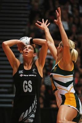 Irene van Dyk (left) of New Zealand shoots during the 2012 Quad Series match between the host New Zealand Silver Ferns and South Africa