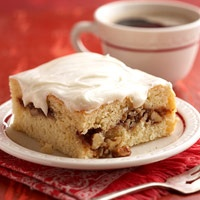 Brown sugar, cinnamon, and walnuts make the filling for this simple sweet bread. A rich, cream cheese frosting goes on top.