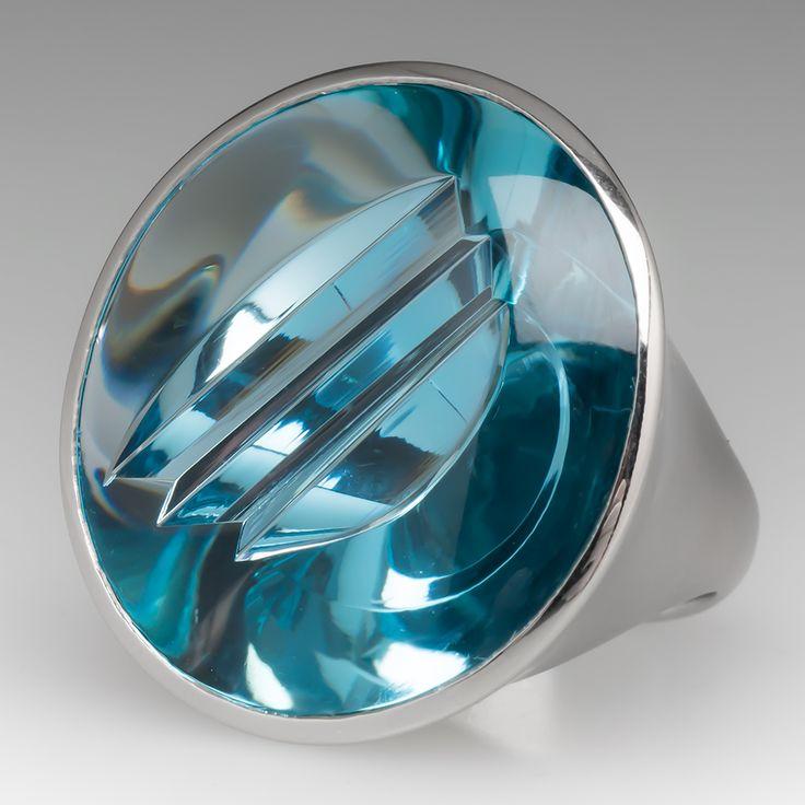Munsteiner Cut Aquamarine Cocktail Ring Platinum