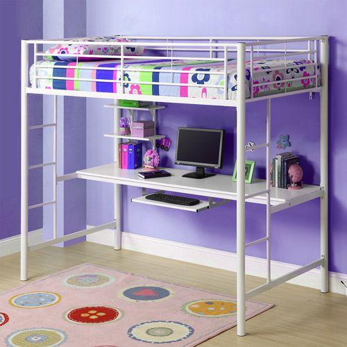 Premium Metal Twin Loft Bed Over Workstation, White: Kids' & Teen Rooms : Walmart.com