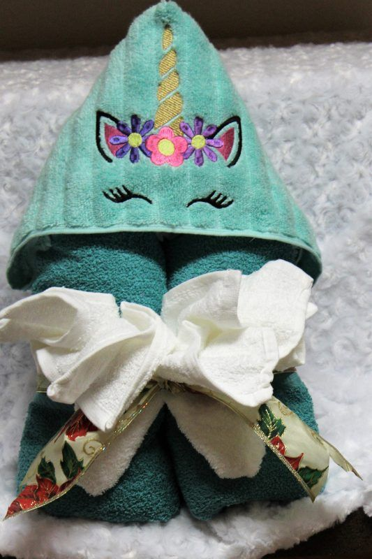 Unicorn Hooded Peeker Towel With An Embroidered Design Unicorn