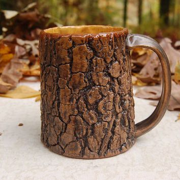 Tree Bark Mug With Honey Yellow Interior For My Coffee In 2018 Pinterest Mugs And Pottery