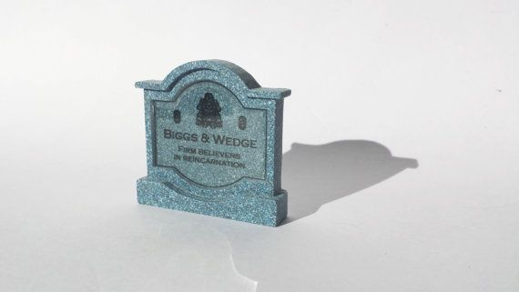 "This specific tombstones from the classic Final Fantasy VI title, are Biggs & Wedge.  Epitaph Reads:  ""Firm believes in reincarnation"" Available at www.ChinookCrafts.Etsy.com"