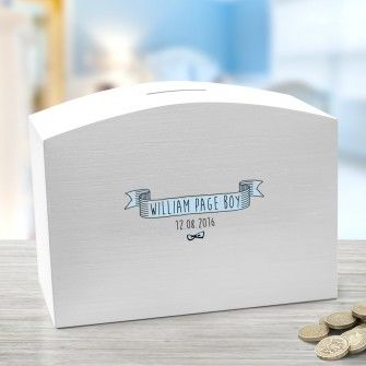 Page Boy Personalised Wooden Wedding Money Box