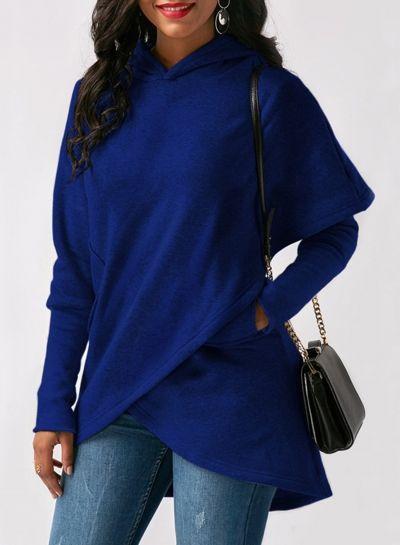 Fashion Long Sleeve Solid Color Asymmetric Design Hoodie novashe.com