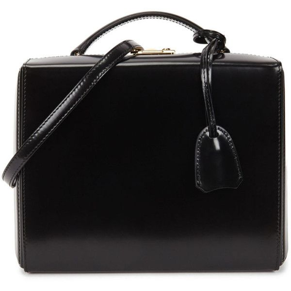 Mark Cross Grace large black leather box bag ($2,380) ❤ liked on Polyvore featuring bags, handbags, shoulder bags, top handle purse, real leather handbags, mark cross handbags, kiss-lock handbags and mark cross purse