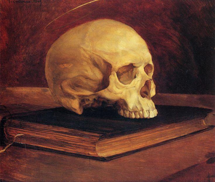 Trübner, Heinrich Wilhelm: Vanitas Stillleben. Totenkopf auf einem Buch.