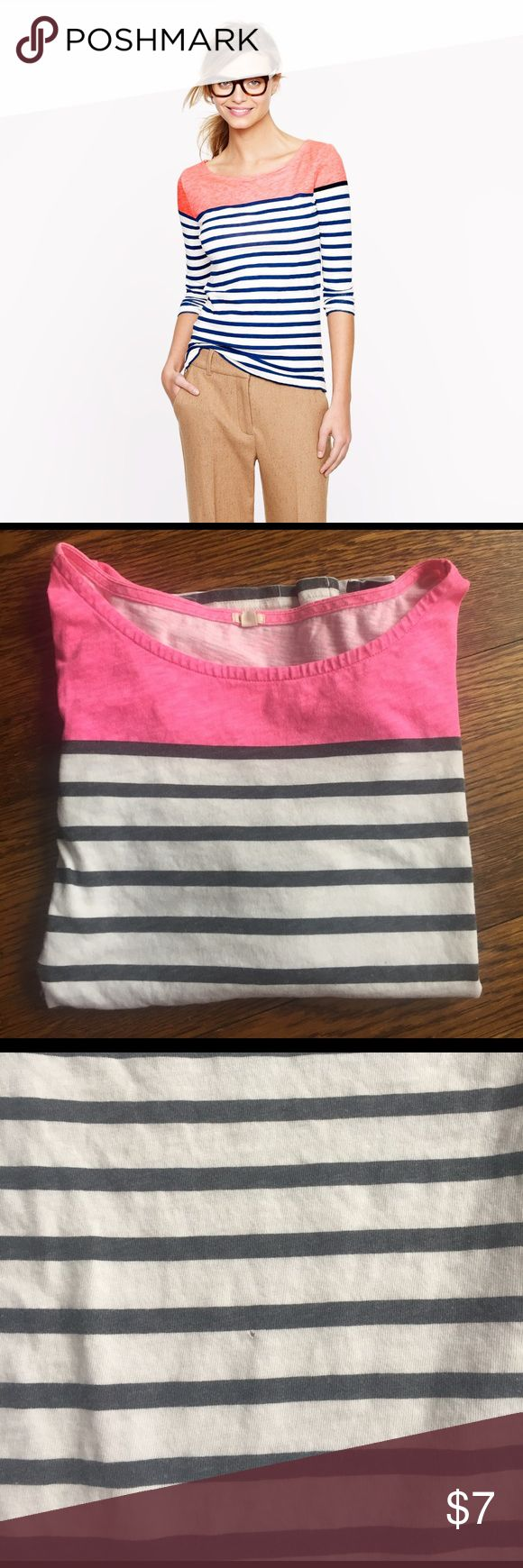 J crew top Cotton stripped top. 3/4 sleeves. The shirt is bright pink on top. Tiny tiny hole on the back- see pics. Still cute and could be sewn up. J. Crew Tops