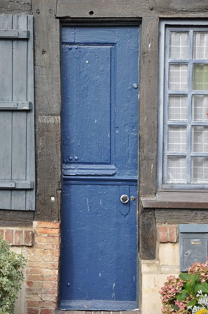 skinny doors: De Photo, Beuvron En Auge, Interesting Doors, Blue Doors, Skinny Doors, Doors Galore, France, Wooden Doors, Photo